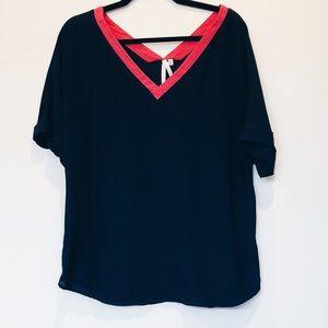 Pink and navy chiffon blouse